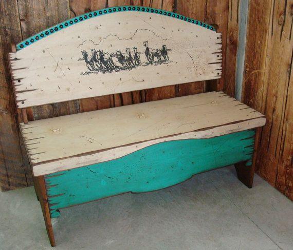 Trunk Bench Storage Bench Western Bench Solid Pine Wood Etsy Decor Western Decor Decorative Trunks