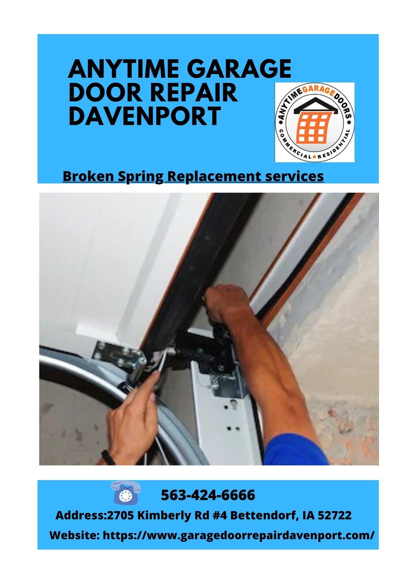 Broken Garage Door Spring Repair Replacement Installation Davenport In 2020 With Images Broken Garage Door