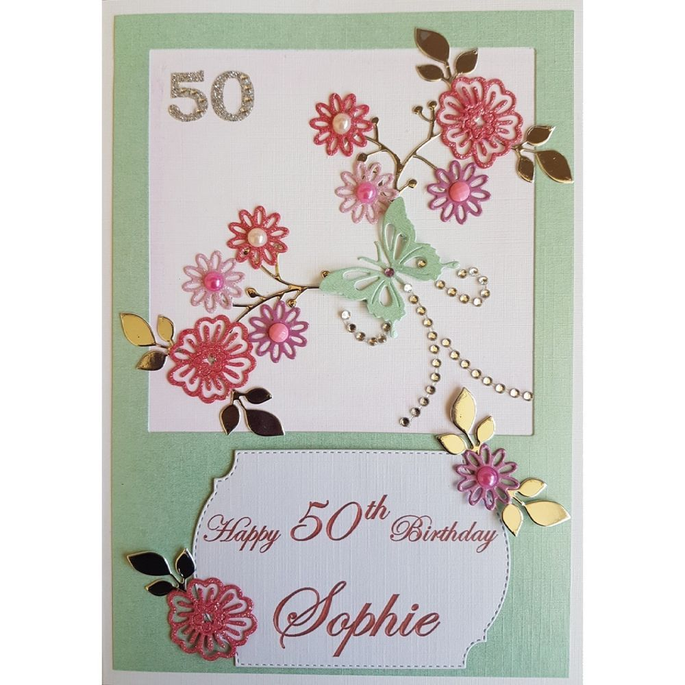Details About Handmade In Uk Luxury 50th Birthday Card