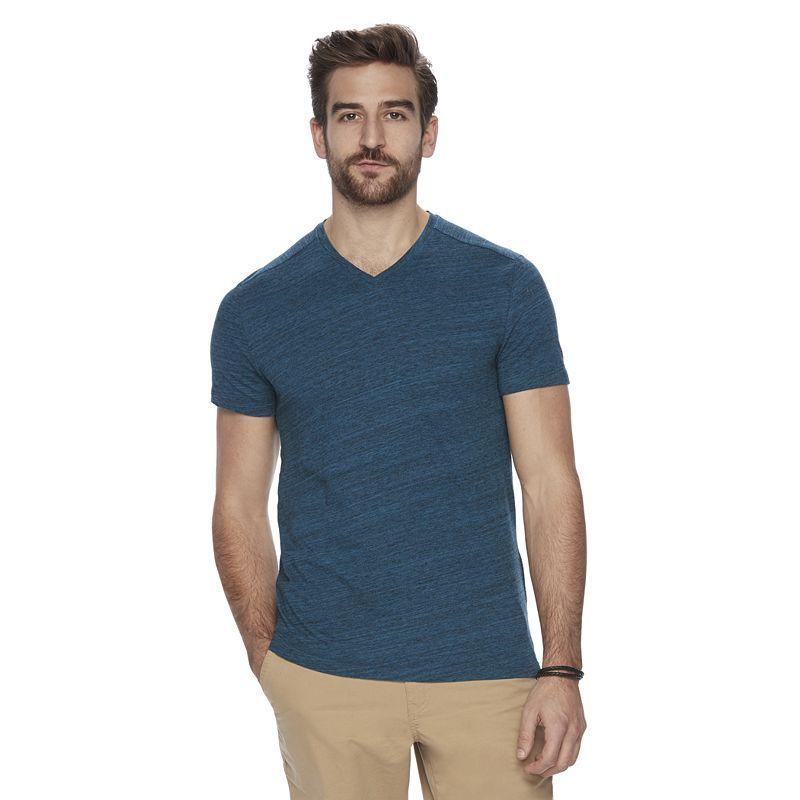 Men's Marc Anthony Space-Dye V-neck Tee, Size: Medium, Turquoise/Blue (Turq/Aqua)