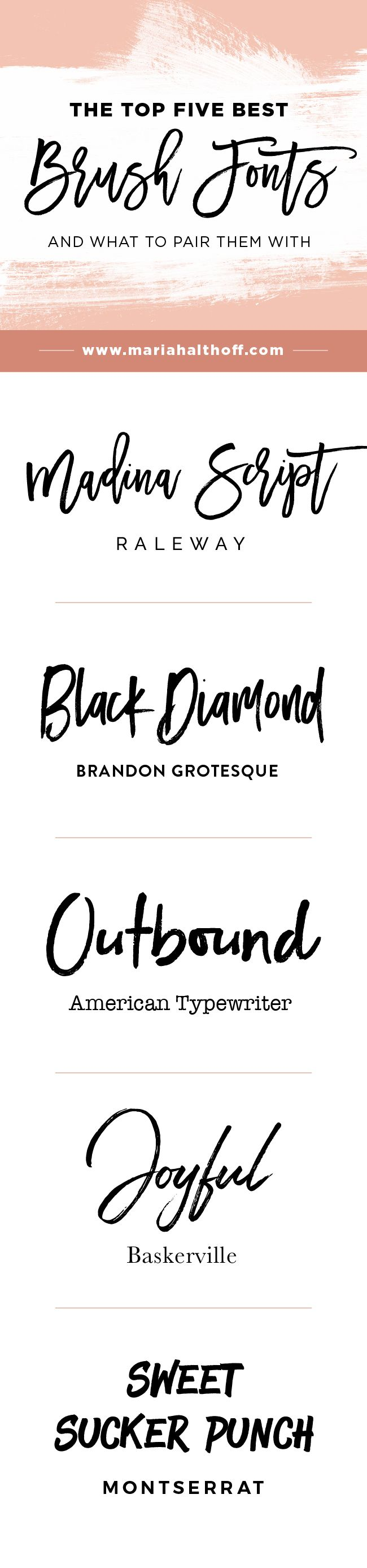 The Top Five Best Brush Fonts and How to Use Them | Pinterest ...