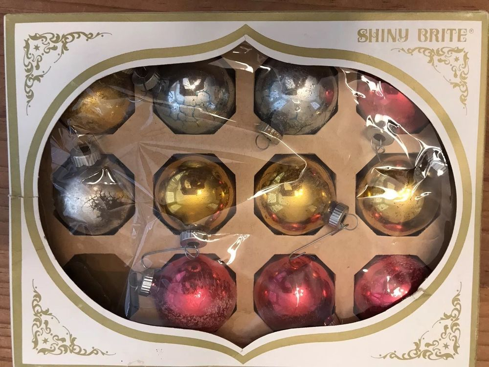 Details about VINTAGE SHINY BRITE GLASS CHRISTMAS ORNAMENTS REDGOLD
