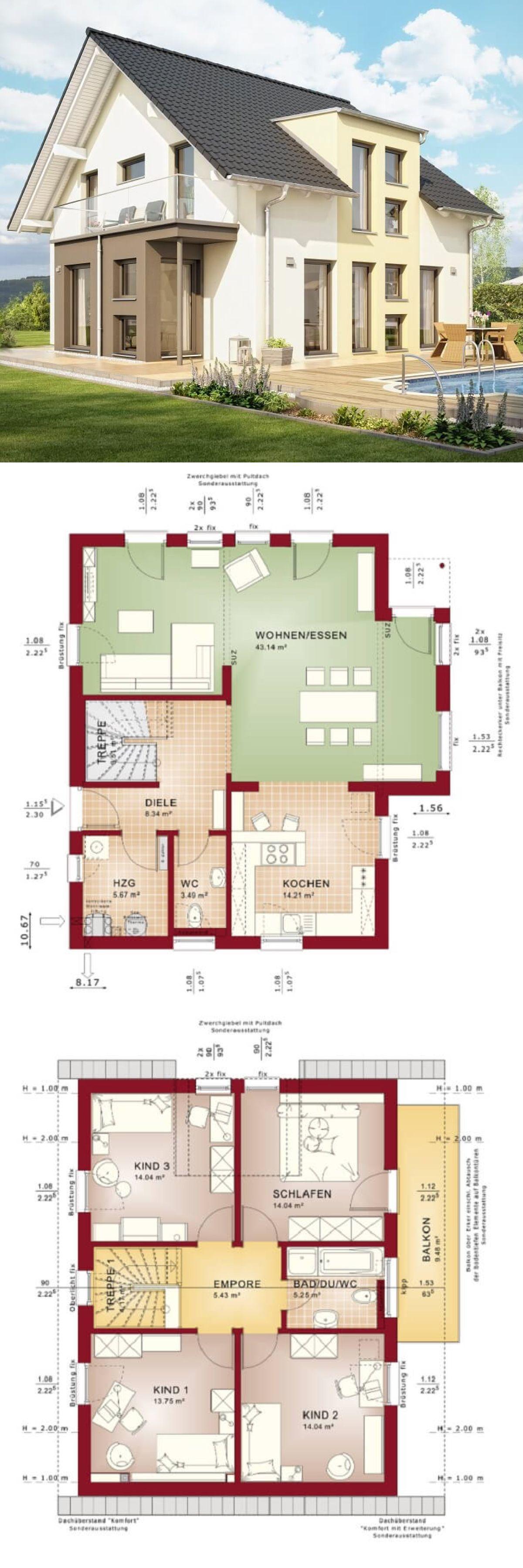 Erker Bauen einfamilienhaus neubau modern mit satteldach architektur