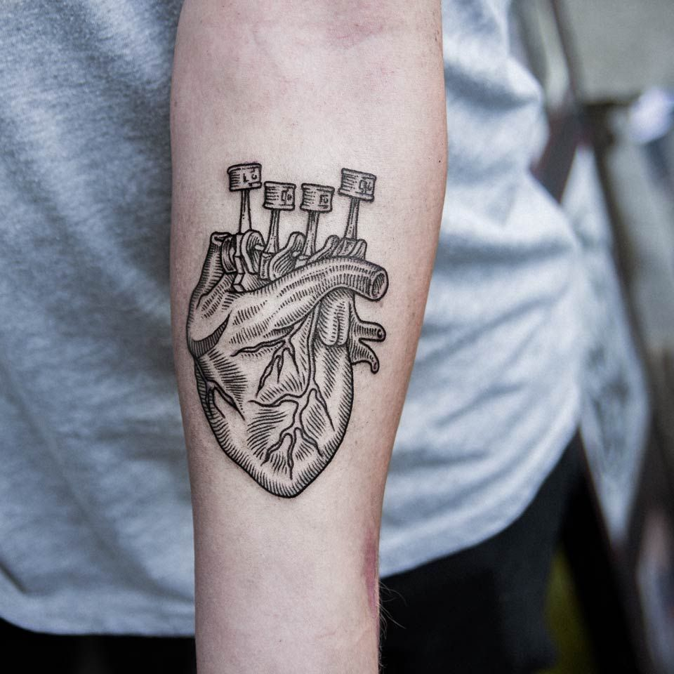 Motorcycle Heartbeat Tattoo: Dogma-noir: Engine Heart By 23dogma.Instagram: @dogma_noir