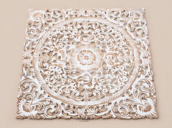 White wash wood carving wall art panel wall by siamsawadee