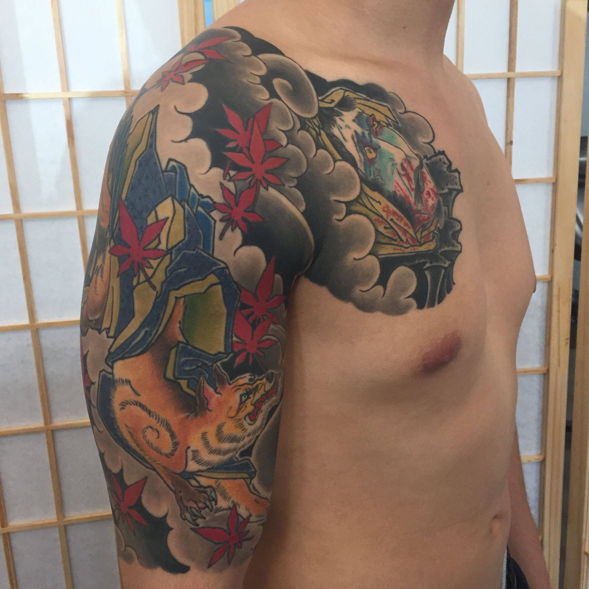 japanese fox half sleeve tattoo by kyle ward kyledubb phoenix arizona kitsune namakubi. Black Bedroom Furniture Sets. Home Design Ideas