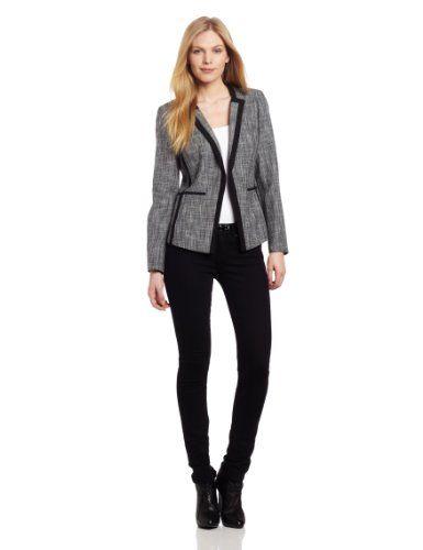 d14c99e21f65 Calvin Klein Women s Collar Less One Button Jacket