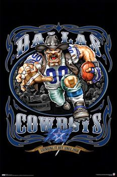 886ab27f1 Dallas Cowboys Grinding it Out Since 1960 NFL Poster - Costacos Sports Liquid  Blue