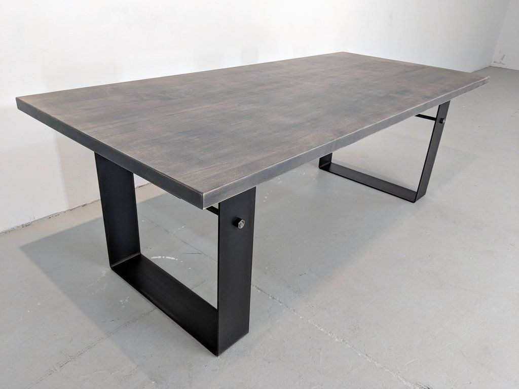 Weathered Gray Farmhouse Industrial Dining Table Dining Table