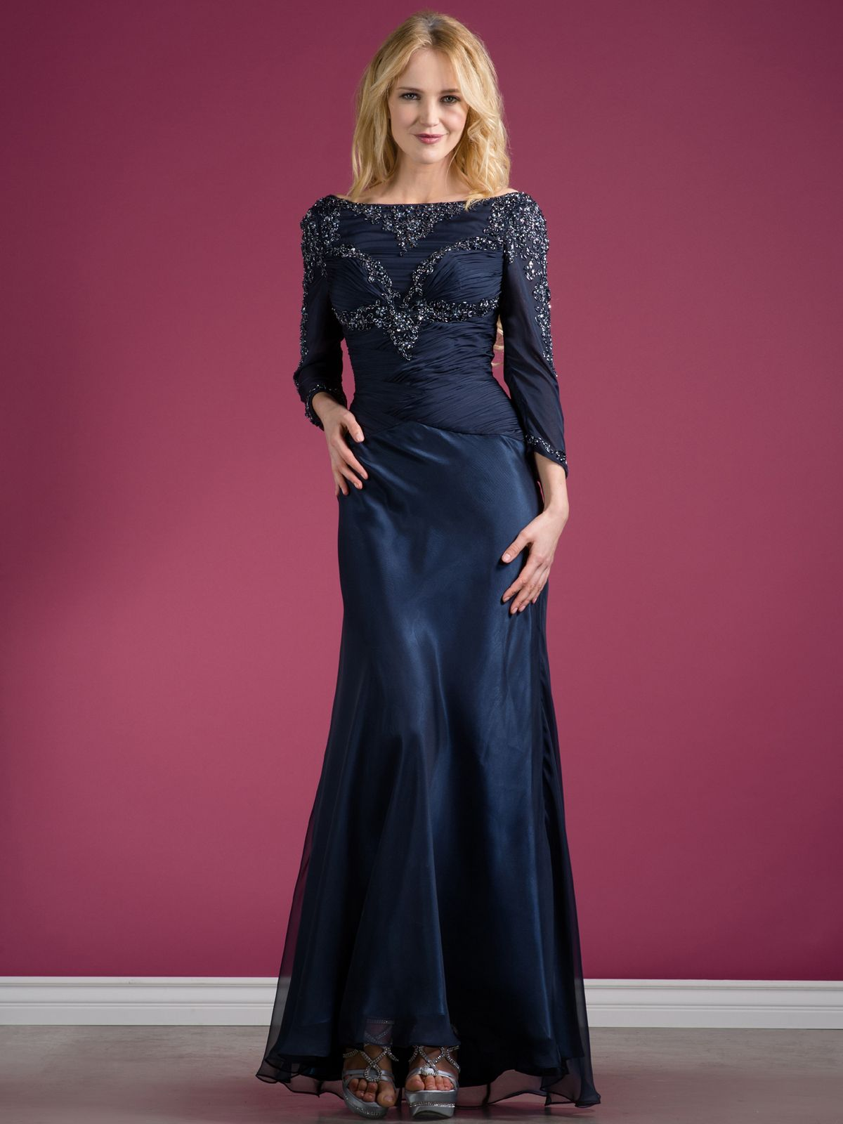 Amazing long sleeve evening dresses navy beaded long sleeve