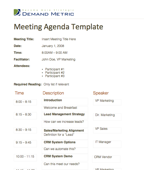Meeting Agenda Template   A Template To Organize Meeting Topics, Timelines,  And Speakers.  Agenda For Meeting Template