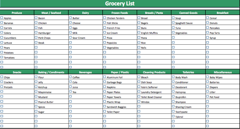 Grocery List Template Excel  List Templates  Dotxes