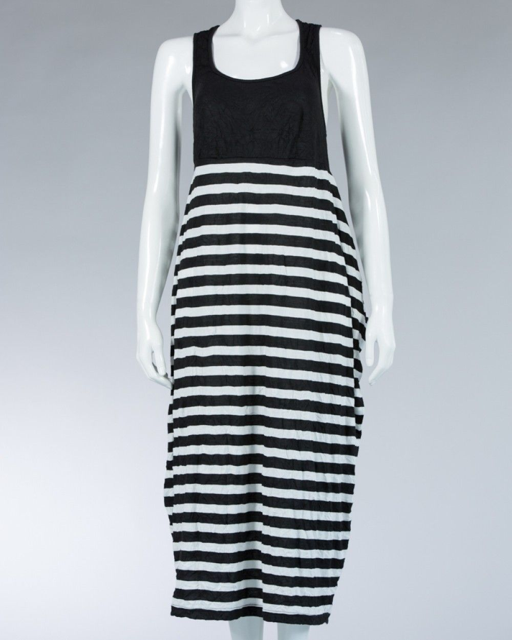 Animale ladies long dress striped motif - Black #WomenDress #Dress #SummerDress #Animale #WomenWear #WomenFashion #MotifDress #LightDress