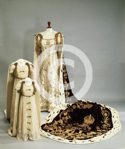 Coronation dresses and robes worn by the Queen Mother and Princesses  Elizabeth and Margaret, 1937