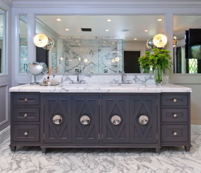 Jeff Lewis Design Fantastic Custom Double Sink Vanity Painted In Dark Gray Concave C Jeff Lewis Design Custom Bathroom Cabinets Contemporary Bathroom Designs