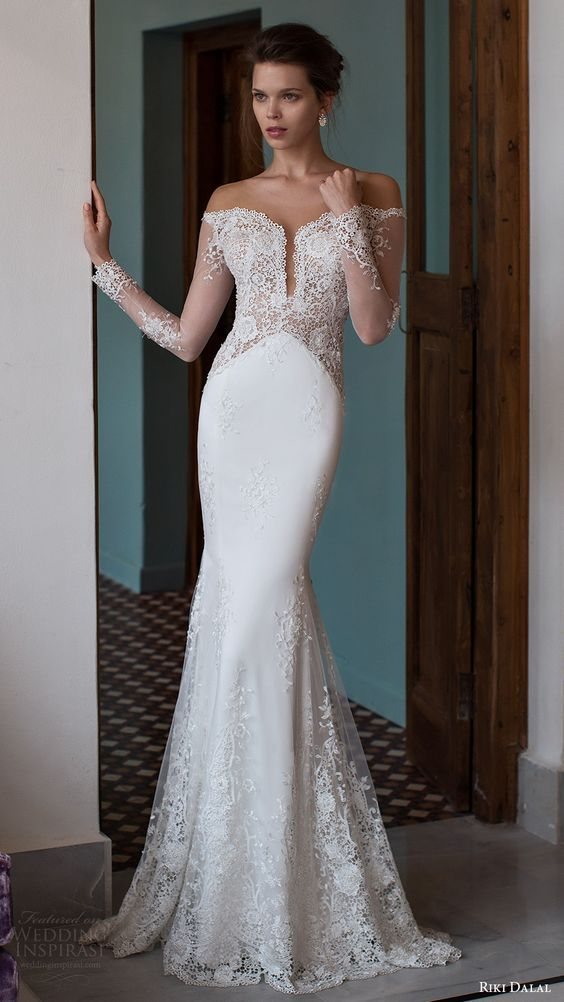 add9b0b55ad0f RIKI DALAL bridal 2016 illusion long sleeves off shoulder pluging  sweetheart lace sheath wedding dress /