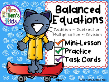 Learning about and practicing balanced equations has never been so fun!This product is designed to introduce the concept using the mini-lesson, provides six problems using all four operations for whole group practice, and includes task cards for small group or independent practice.