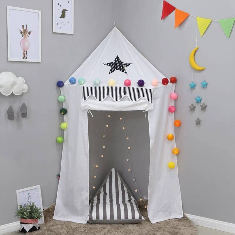 White Tiendas de campaña H-ONG Teepee Tent for Kids & Adults Children Indian Tent Luxury Lace Childrens Playhouse for Indoor Outdoor Décoration with Carry Bag
