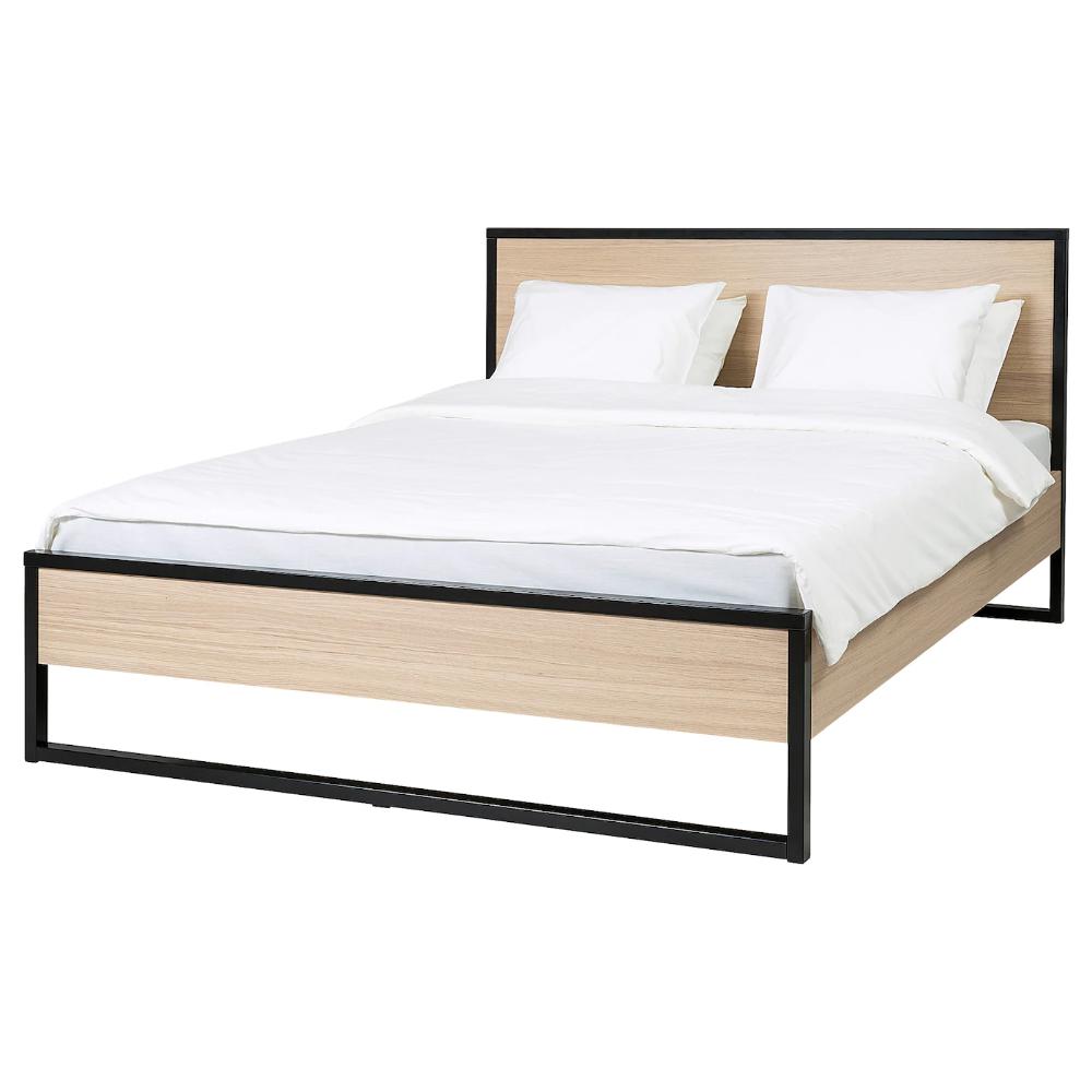 Oksfjord Bettgestell Eichenfurnier Weiss Lasiert Schwarz Ikea Deutschland Bettgestell Bett Ideen Bett