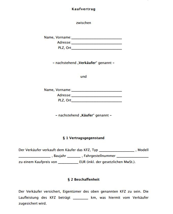 Auto Kaufvertrag Vorlage Kaufvertragkfz Jpg