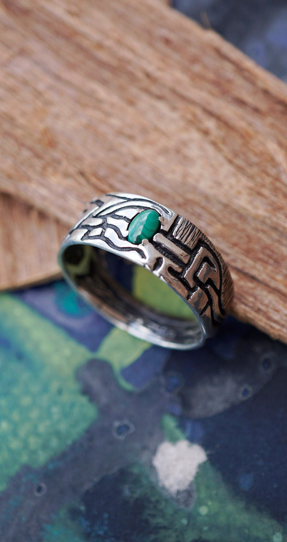 "Photo of Unique mens ring, Malachite ring, Onyx ring men, Mens silver ring, Green stone ring, Mens ring green stone, Band ring ""VERT"""