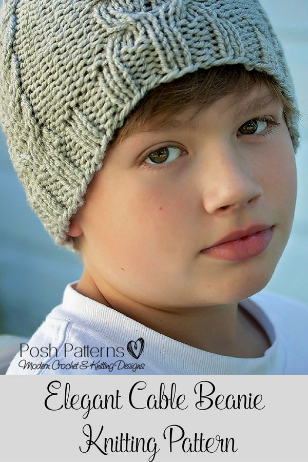Knitting Pattern - An incredibly elegant cable knit beanie pattern. Perfect for babies, kids, boys, girls, women, and men. By Posh Patterns.