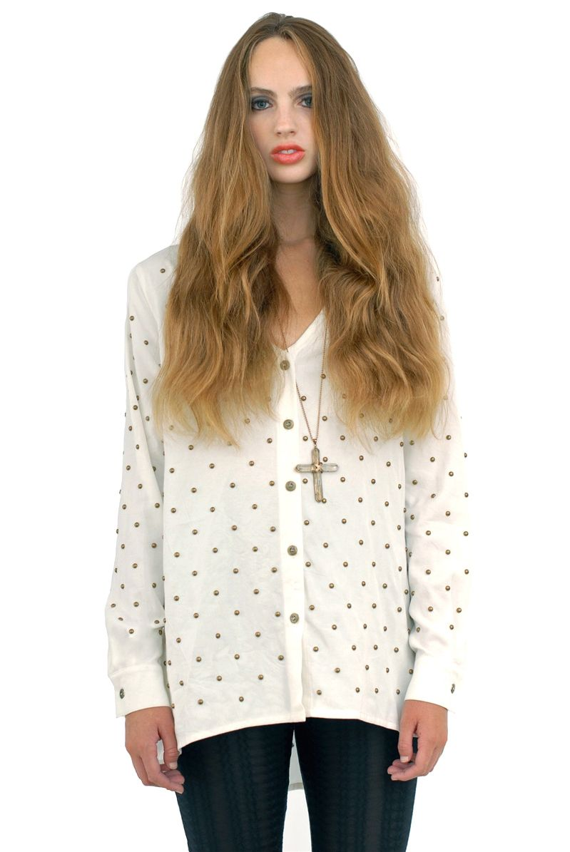 AMERICAN GOLD Heart of Gold Studded Top - Whit