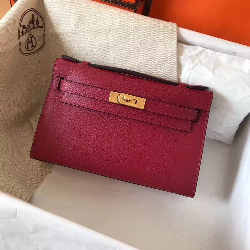 d9b7e32e762b Handmade Hermes Mini Kelly 22 Pochette Bag -Rubis EPSOM Calfskin 1 ...