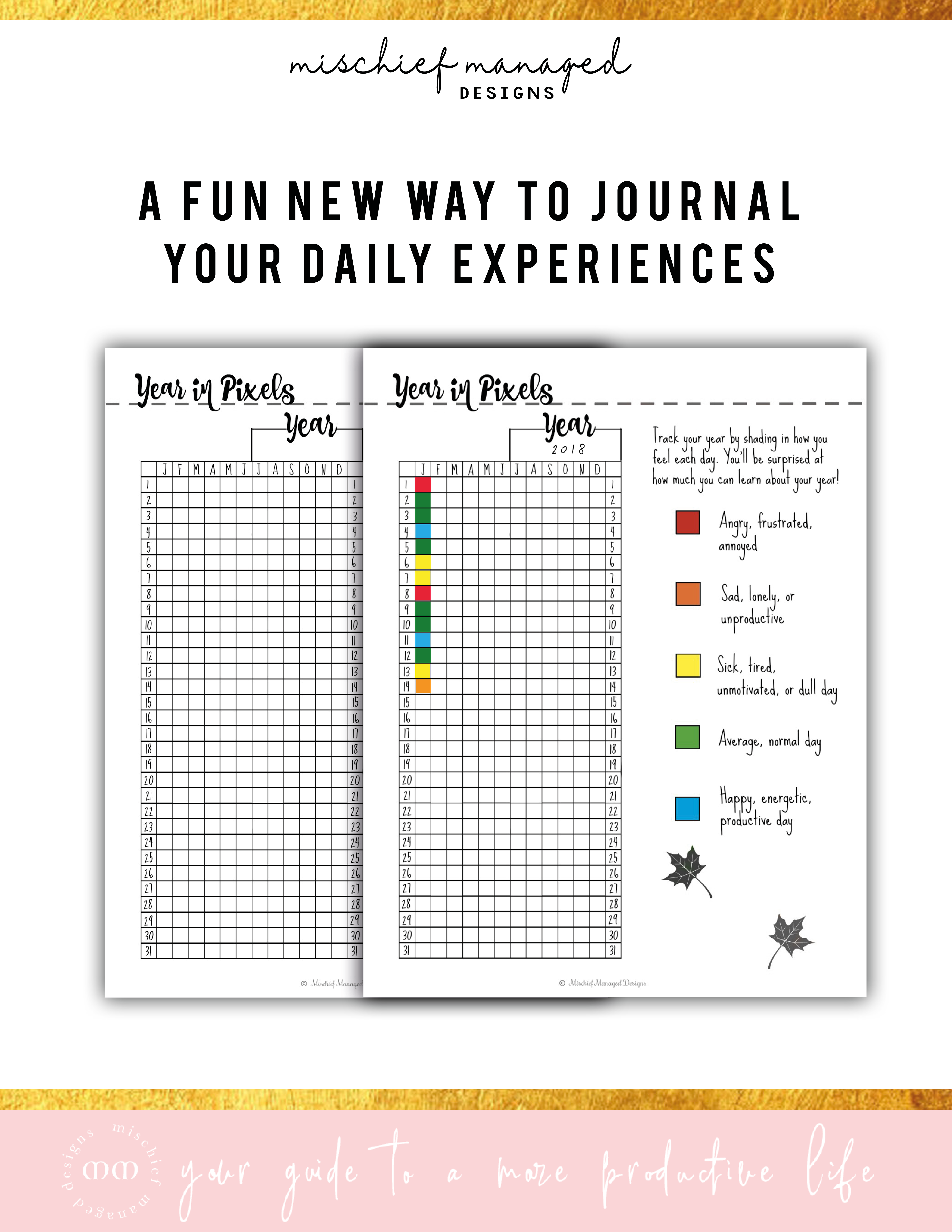 Year In Pixels Habit Tracker Daily Planners Success