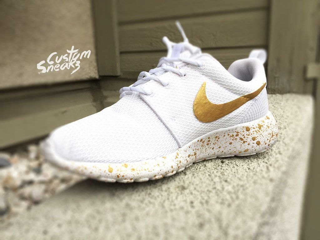 separation shoes fa671 5cf41 Womens Custom Nike Roshe Run sneakers, White and Gold, Gold splatter  design, Custom Roshes