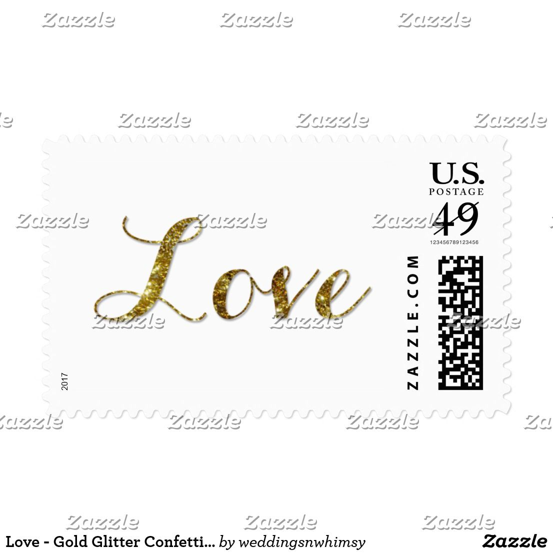 Love - Gold Glitter Confetti Wedding Postage Stamp Mail any ...