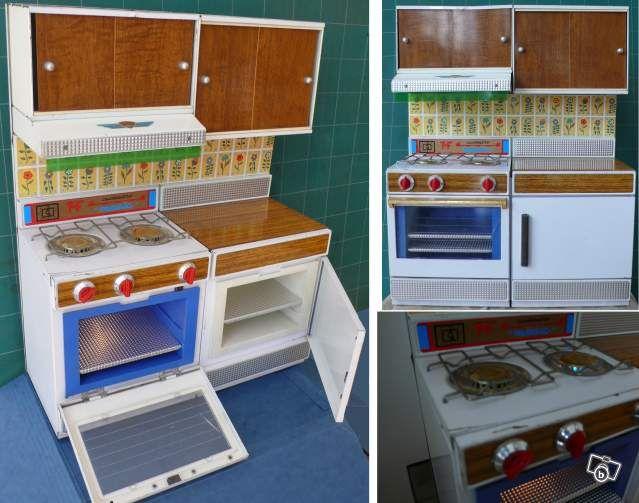 jouet ancien/dinette tmf: gazinière + bloc cuisine collection