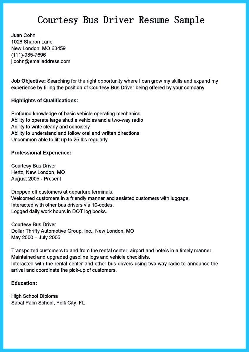 Stunning Bus Driver Resume To Gain The Serious Bus Driver Job