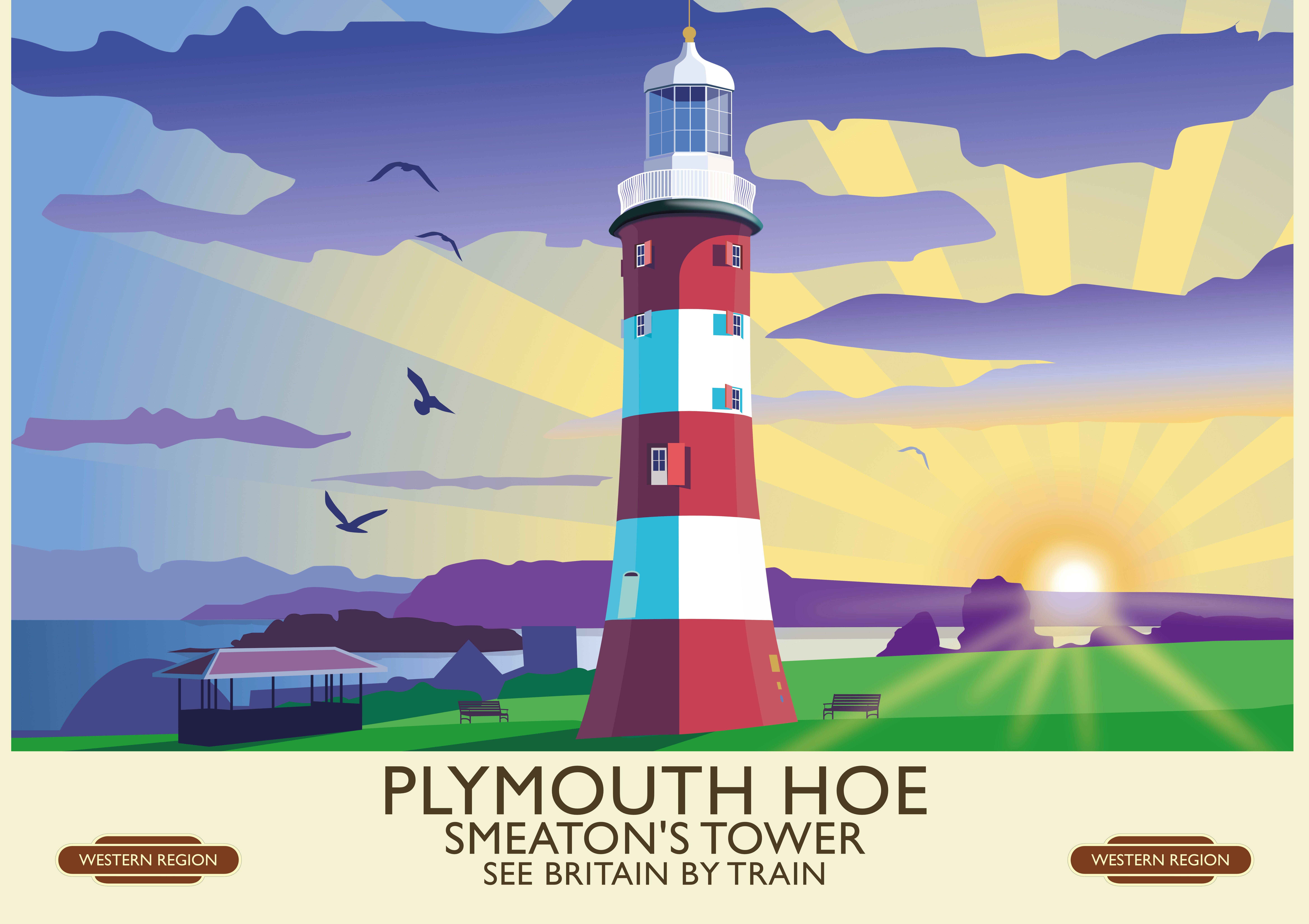 Plymouth Hoe Vintage Railway Poster by Mike Turton | Railway posters ...