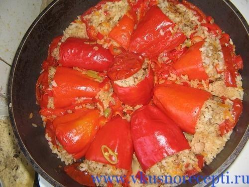 перец фаршированный белокочанной капустой с фото