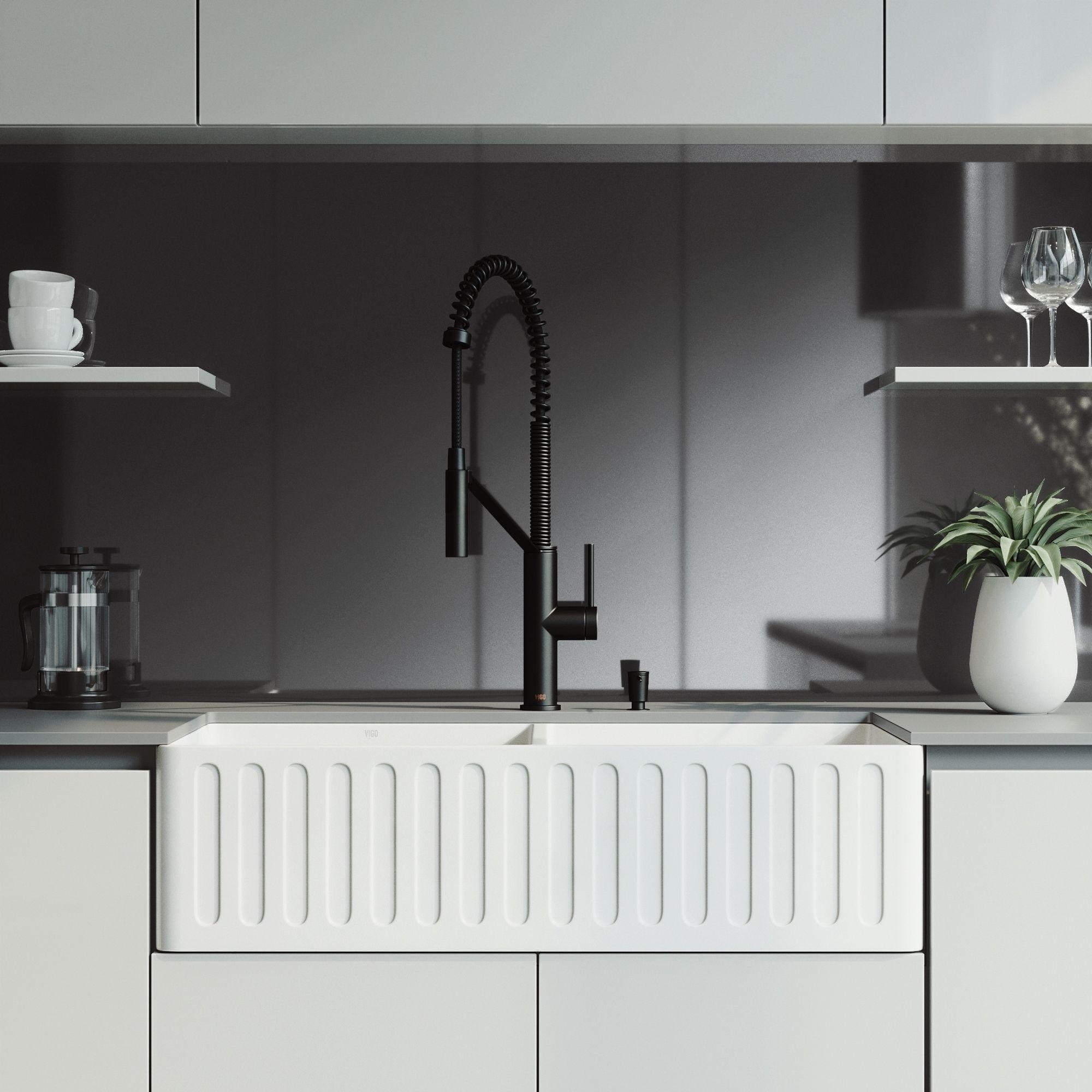 Vigo 36 Inch Matte Stone Double Bowl Sink Set With Livingston Faucet Black Stone Sink Kitchen Farmhouse Sink Kitchen Kitchen Fixtures