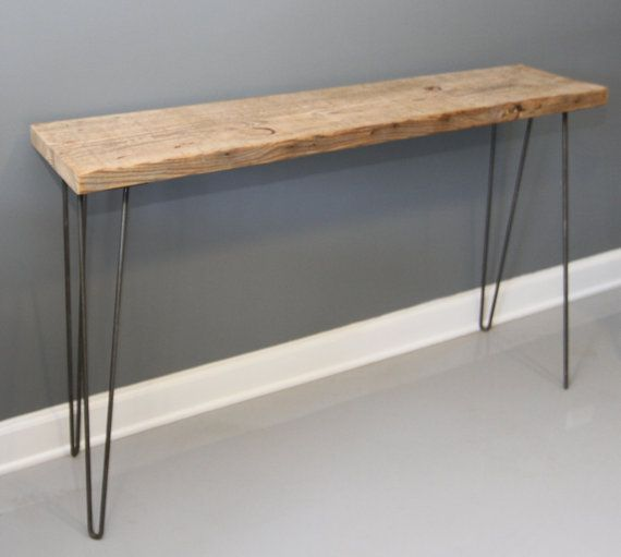Superior Reclaimed Wood Console Table W/ Hairpin Legs Free By DendroCo