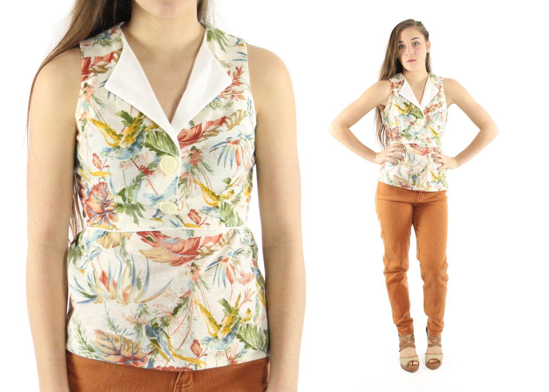 ml vintage sleeveless floral blouse