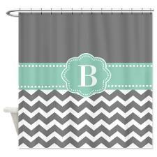 Gray Mint Green Chevron Monogram Shower Curtain Shower Curtain