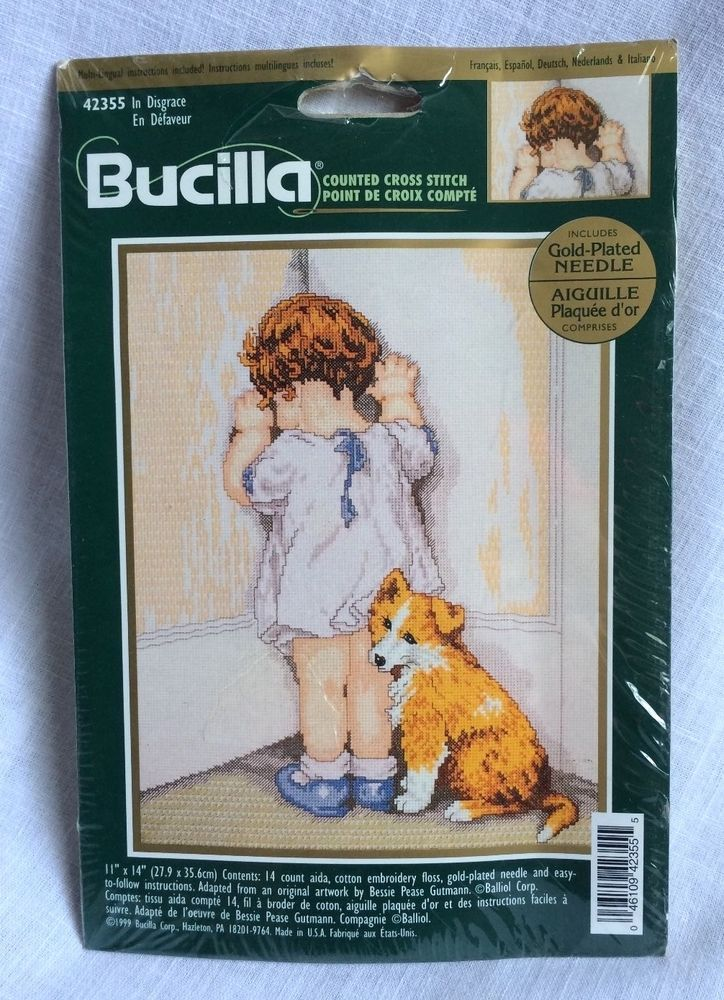 Bucilla 42355 In Disgrace count Cross Stitch Girl in Corner With Dog Sealed USA…