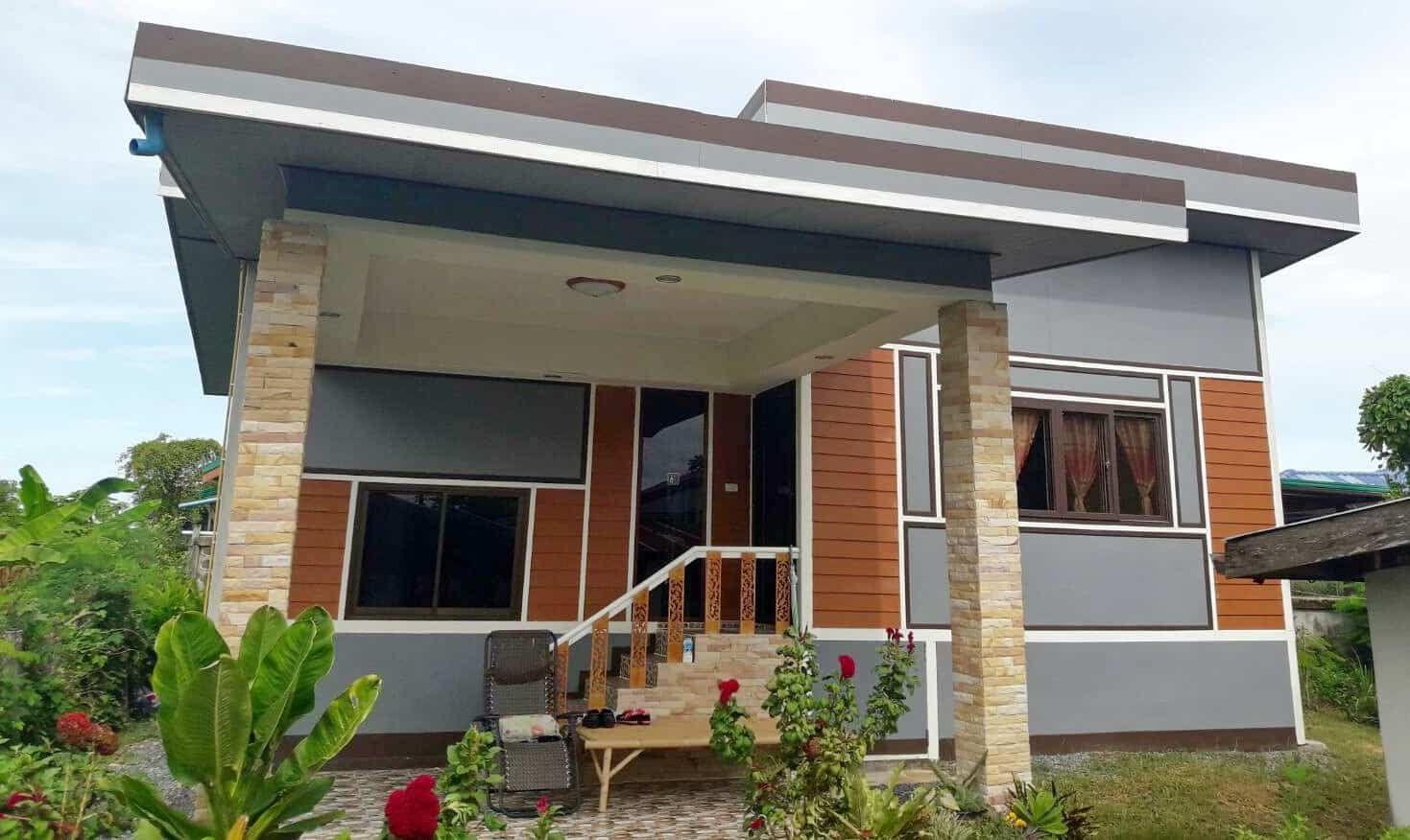 ร ว ว สร างบ านช นเด ยว ราคาประหย ด 2 ห องนอน 1 ห องน ำ งบประมาณ 350 000 บาท House Floor Design Bungalow House Floor Plans Simple Bungalow House Designs