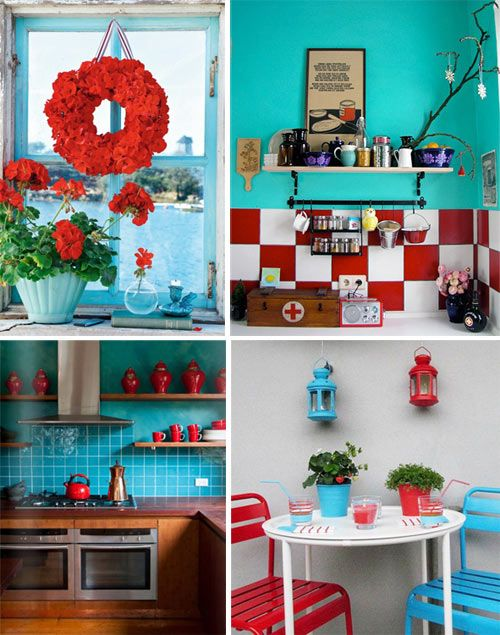 Gorgeous Collage Of Turquoise And Red Teal Kitchen Decor Aqua