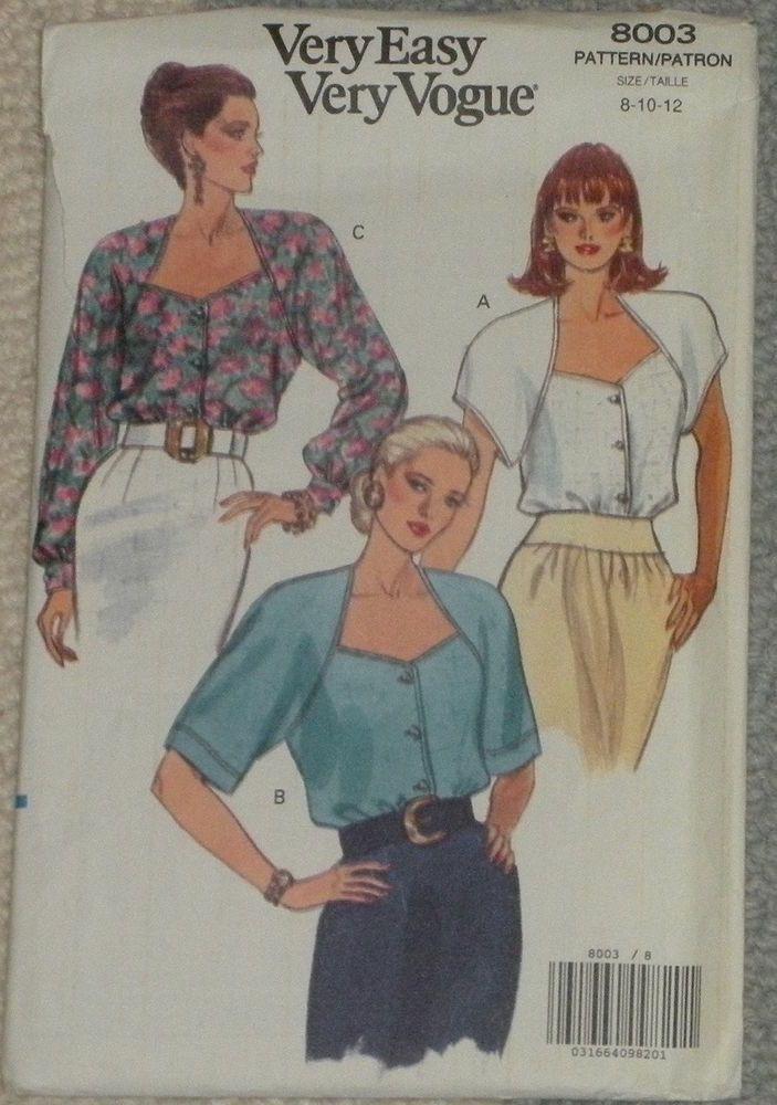 Vogue #8003 Misses\' Loose Fitting Blouse Pattern - Sz 8-12 - Uncut ...