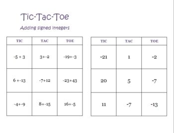 Dividing Integers Video and Tic-Tac-Toe example | Math with Mr ...