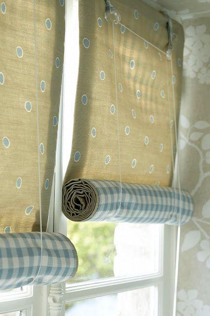 Over At Blue Gingham Cottage Diy Blinds Diy Curtains Fabric Blinds