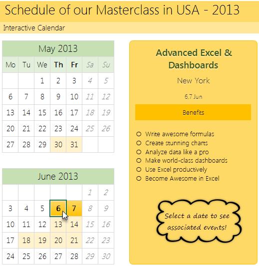 Finalized Interactive Calendar Interactive Calendar Event Calendar Template Excel Calendar Template