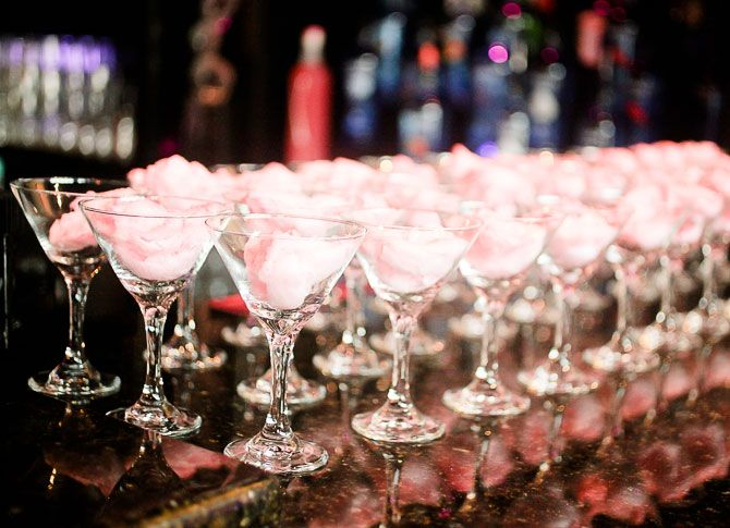 The Knot Mixer table 6 productions cotton candy martinis