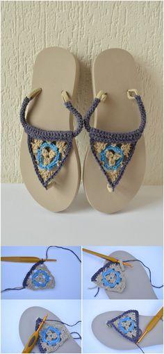18 Crochet Flip Flops with Free Pattern | Pinterest | Schuhmuster ...