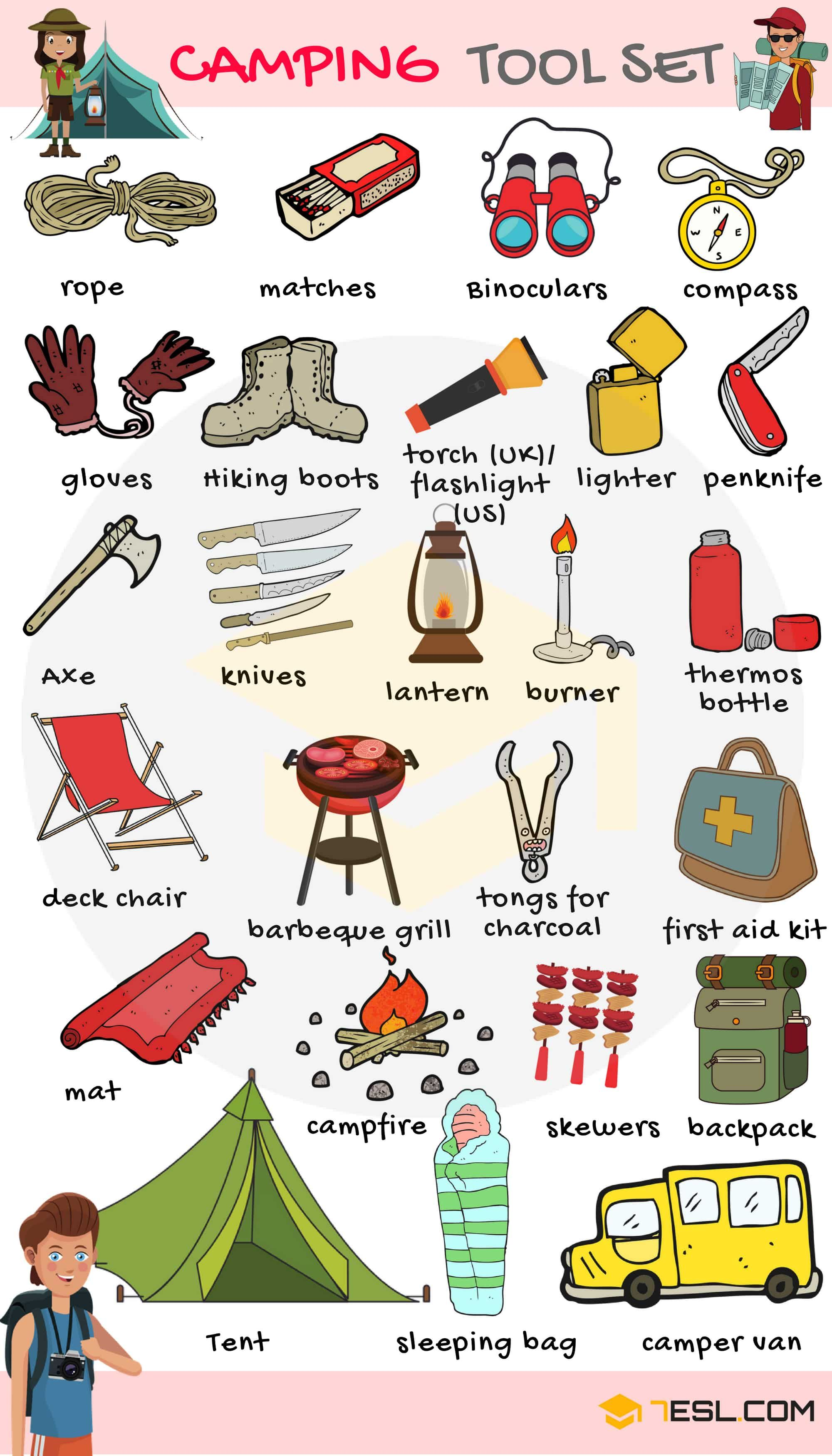 Camping Checklist: Useful Camping List with Pictures | Camping with kids,  Camping, Things to do camping