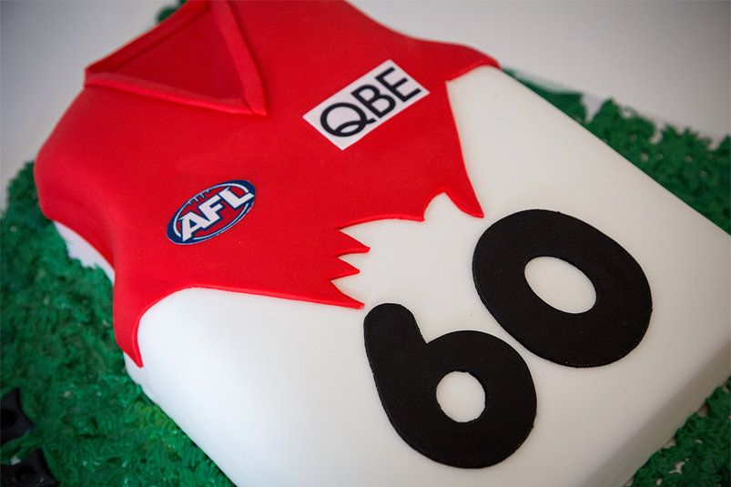 AFL Sydney Swans Jersey Cake (With images)   60th birthday ...